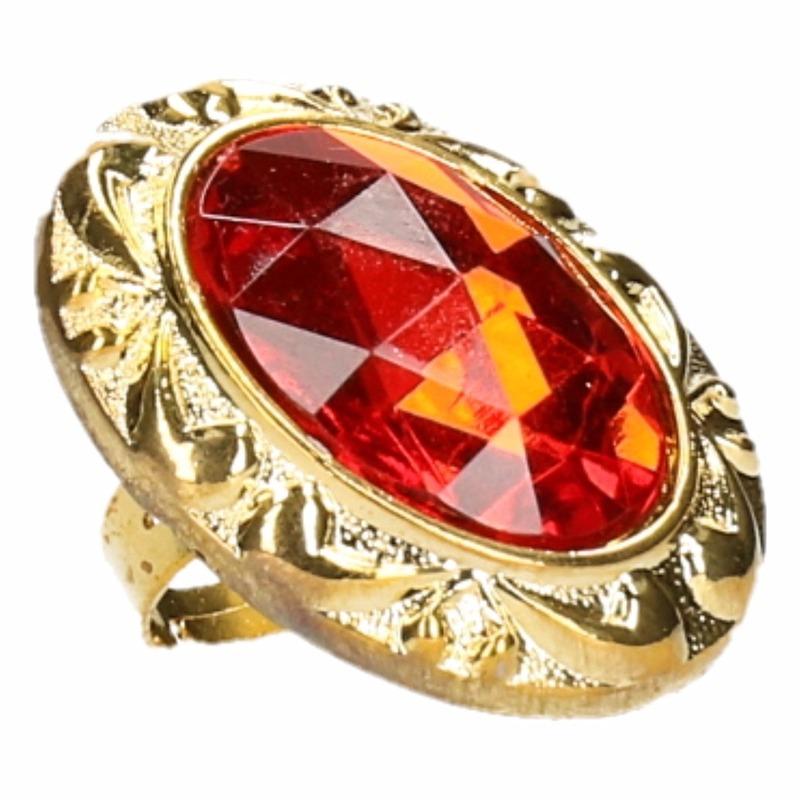 Pimp ring ovaal met rode steen