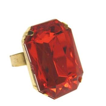 Pimp ring rechthoekig met rode steen