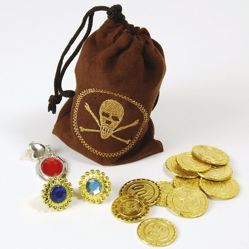 Piraten buidel met sieraden en geld