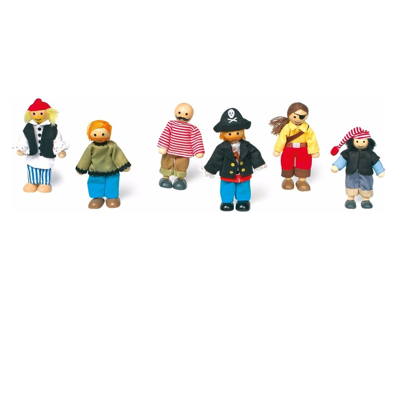 Piraten speelgoed poppen 6 stuks