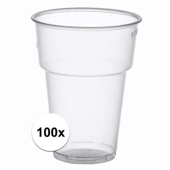 Plastic bierglazen 100 stuks