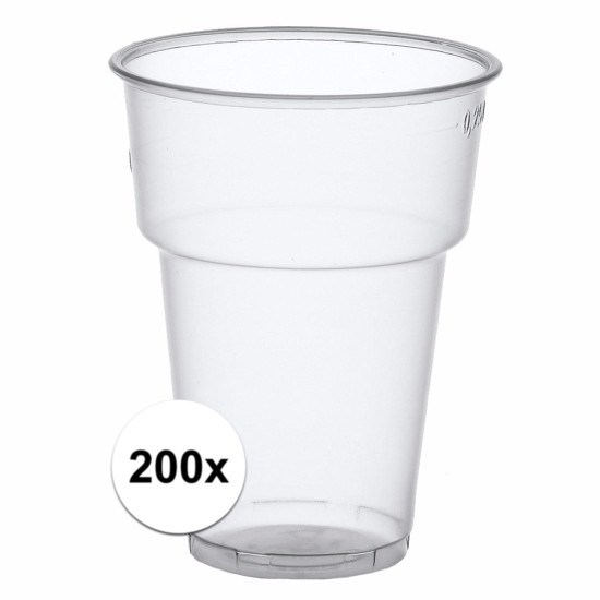 Plastic bierglazen 200 stuks