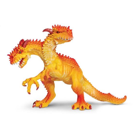 Plastic draak speelgoed figuur met 2 koppen 15 cm