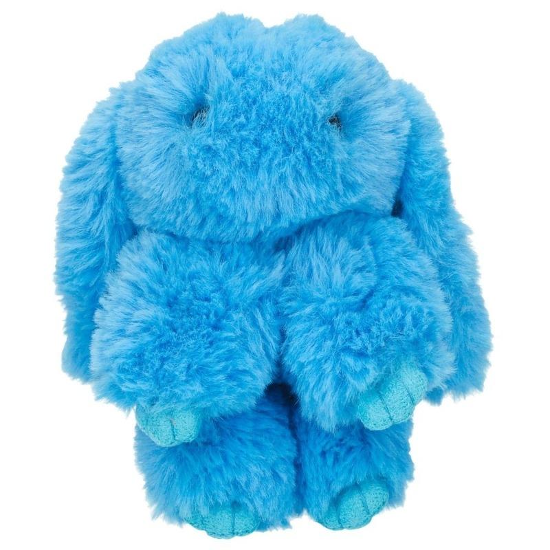 Pluche blauwe konijn sleutelhanger 15 cm