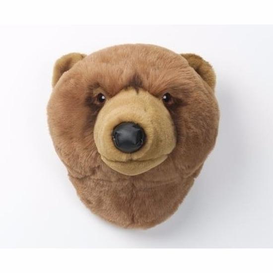 Pluche bruine beer dierenhoofd knuffel 30 cm muurdecoratie