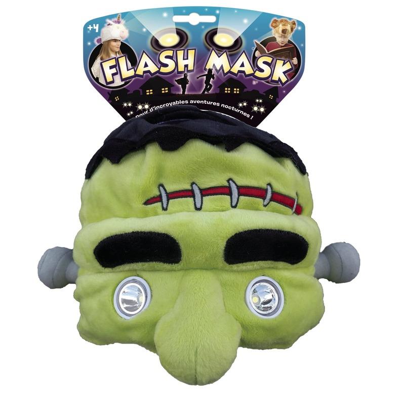 Pluche Frankenstein muts met leeslamp/lampjes ogen voor kinderen