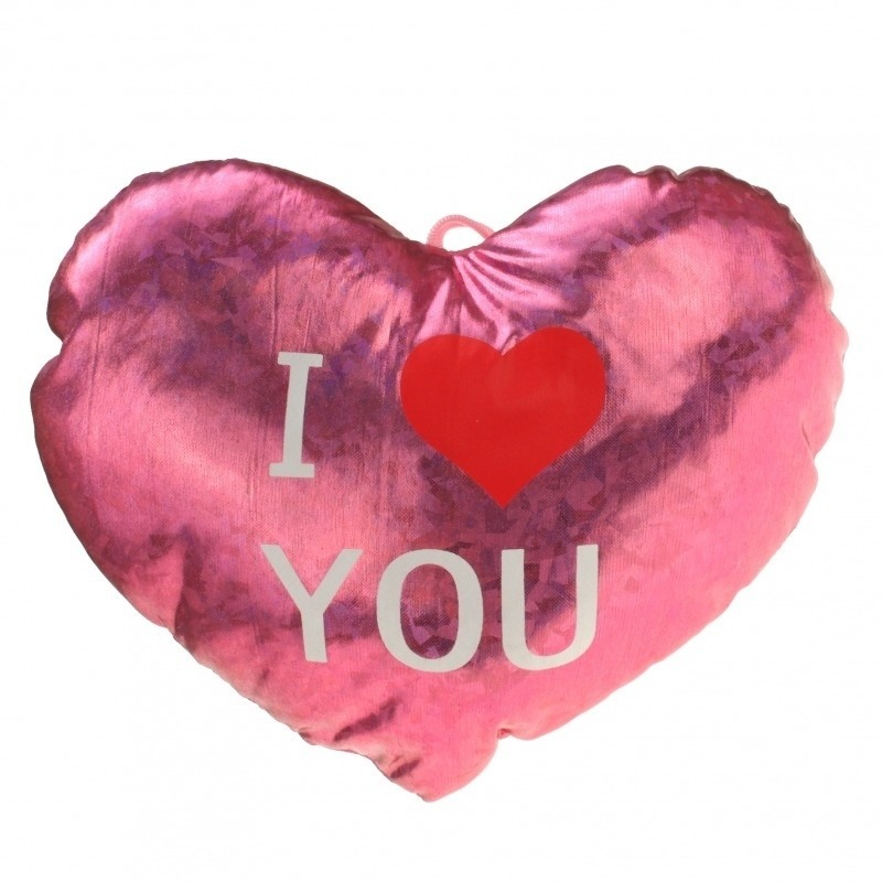 Pluche glimmend roze hart kussen I Love You 14 cm