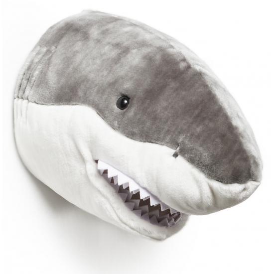 Pluche haai dierenhoofd knuffel 30 cm muurdecoratie