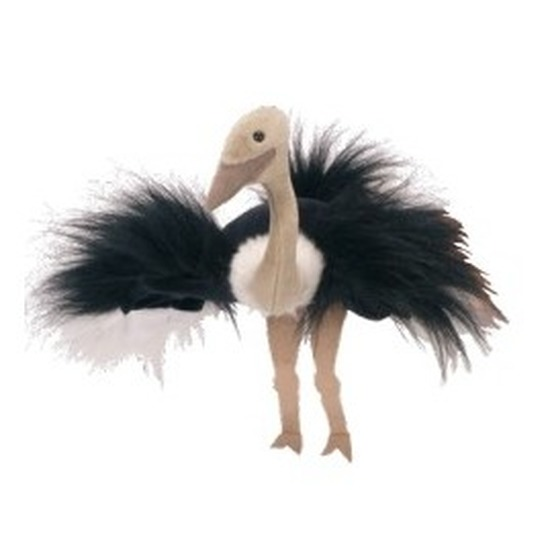 Pluche handpop struisvogel 22 cm