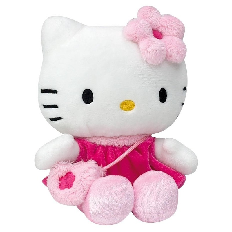 Pluche Hello Kitty knuffel in fuchsia jurkje 15 cm
