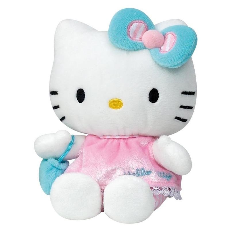 Pluche Hello Kitty knuffel in roze jurkje 15 cm