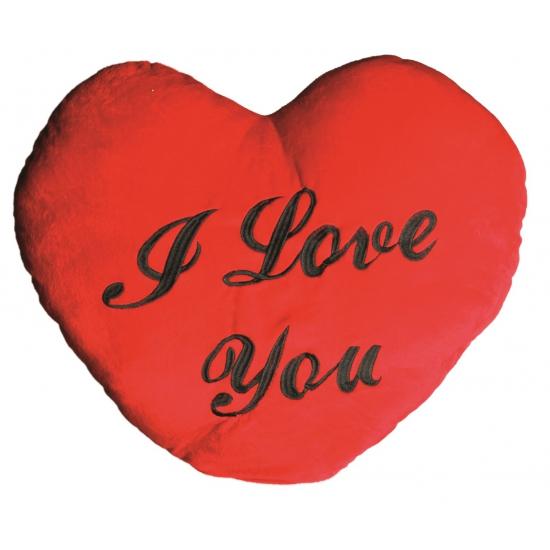 Pluche I Love You hartjes kussen 60 cm