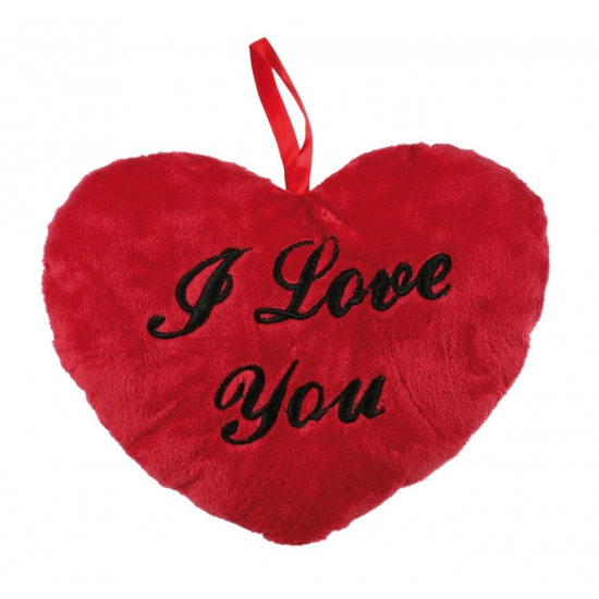Pluche I Love You hartjes kussentje 18 cm