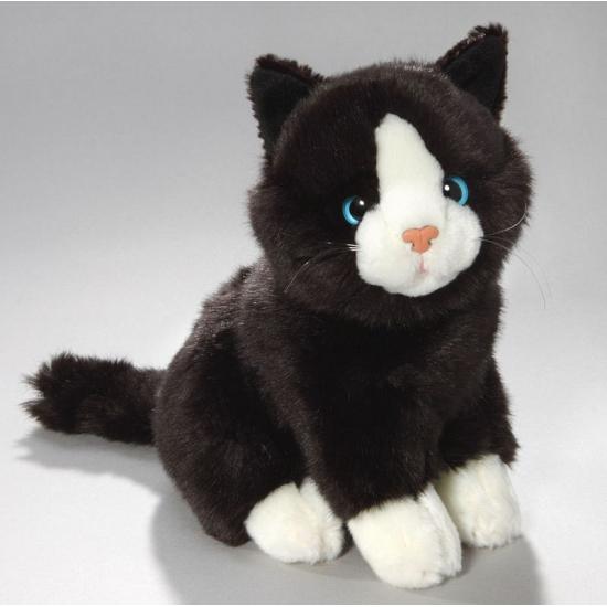 Pluche Knuffel Zwart/witte Kat 23 Cm