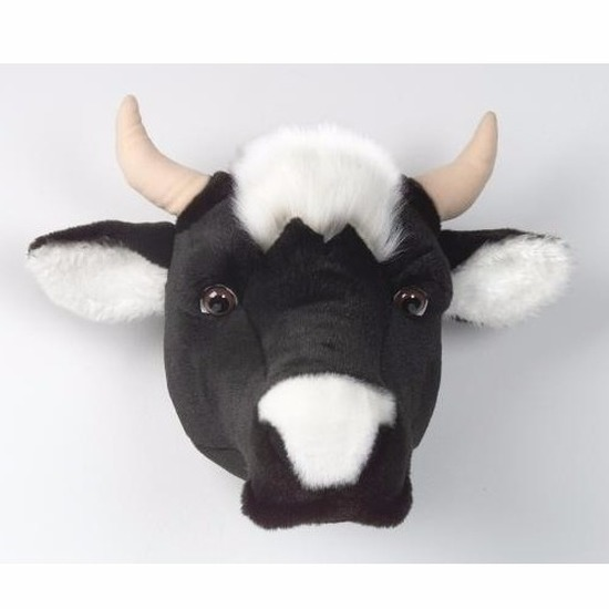 Pluche koe dierenhoofd knuffel 30 cm muurdecoratie