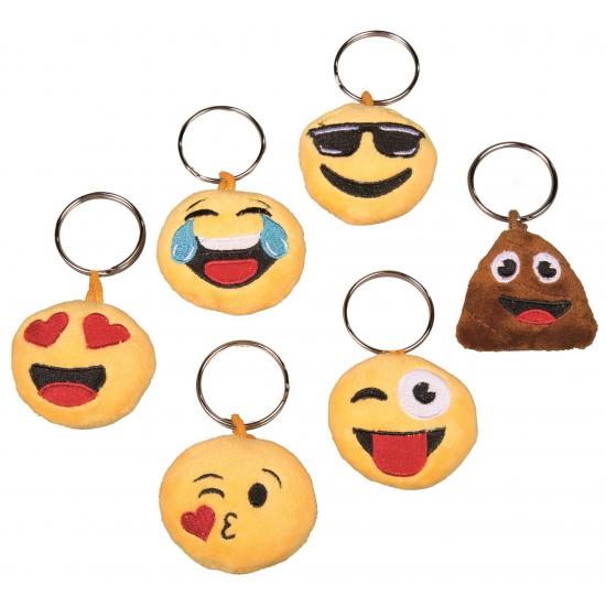 Pluche kussende Smiley sleutelhanger