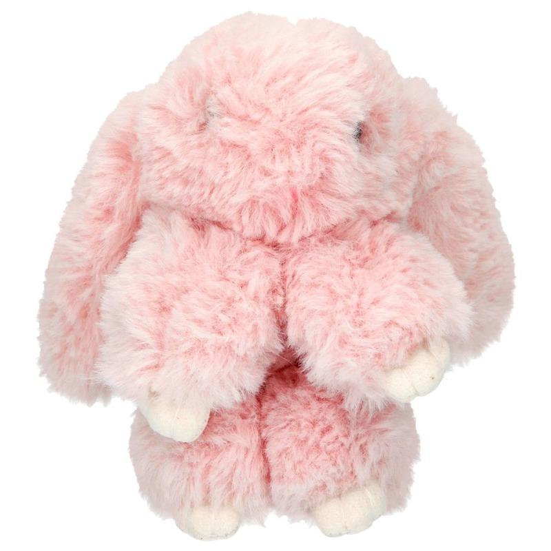 Pluche roze konijn sleutelhanger 15 cm