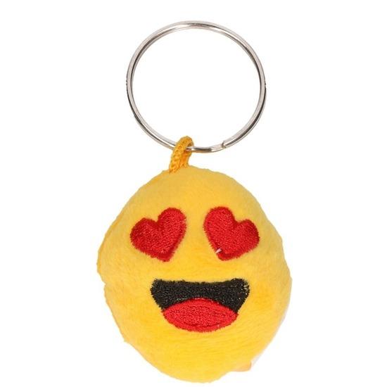 Pluche smiley in love sleutelhanger