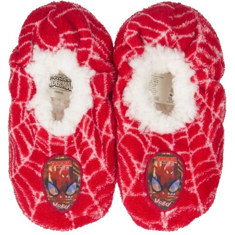 Pluche Spiderman pantoffels/sloffen rood voor jongens