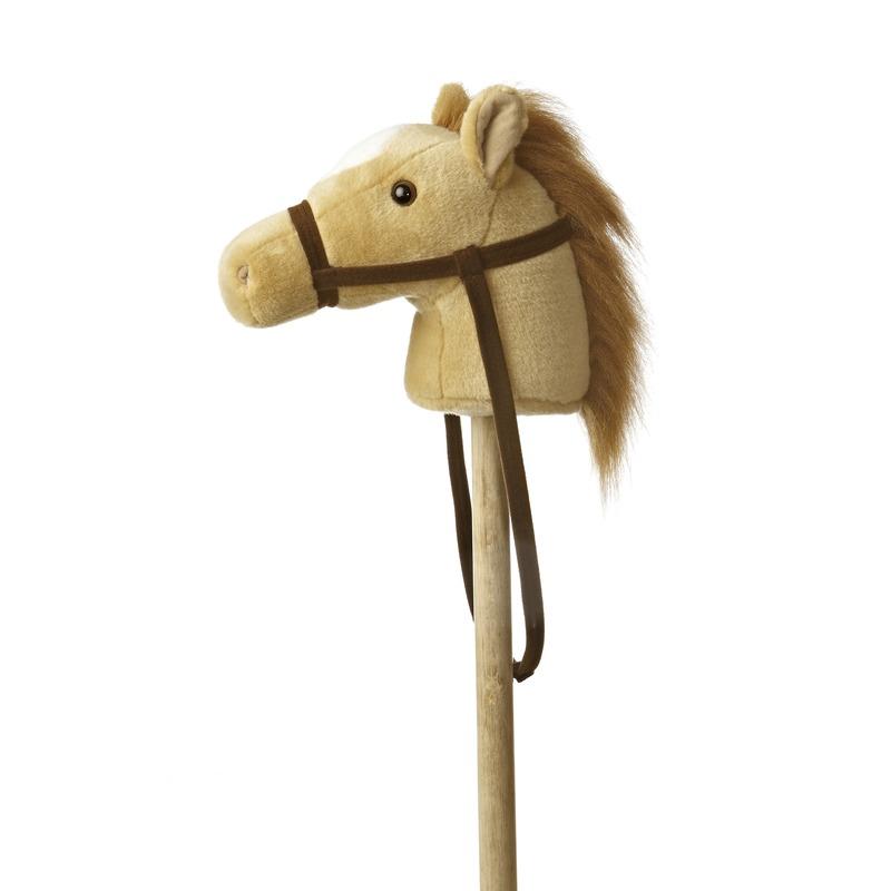 Pluche stokpaardje beige pony met geluid 94 cm
