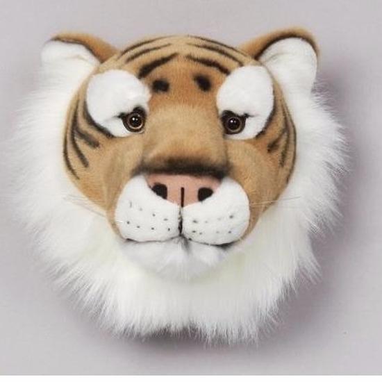Pluche tijger dierenhoofd knuffel 30 cm muurdecoratie