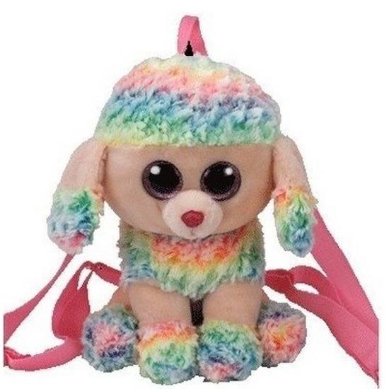 Pluche Ty Beanie gekleurde poedel rugzak Rainbow voor kinderen
