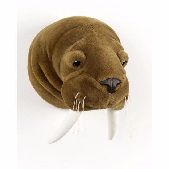Pluche walrus dierenhoofd knuffel 25 cm muurdecoratie