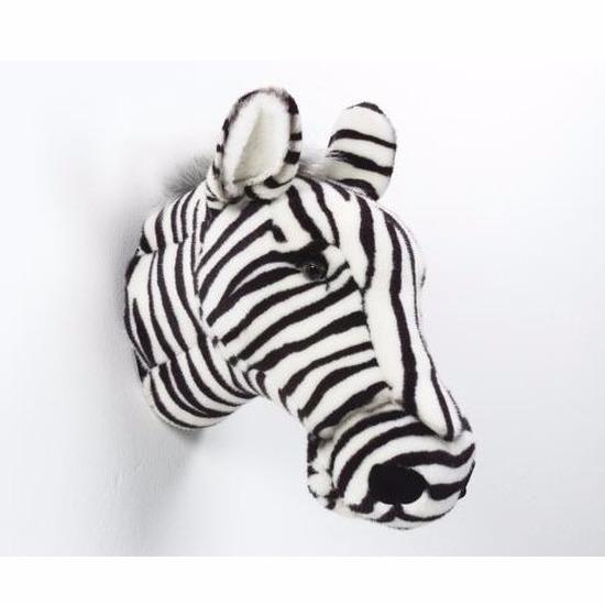 Pluche zebra dierenhoofd knuffel 35 cm muurdecoratie