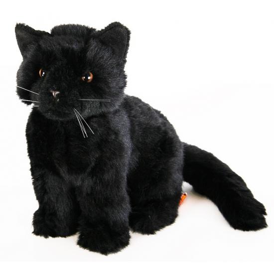 Pluche Zittende Knuffel Kat Zwart 20 Cm