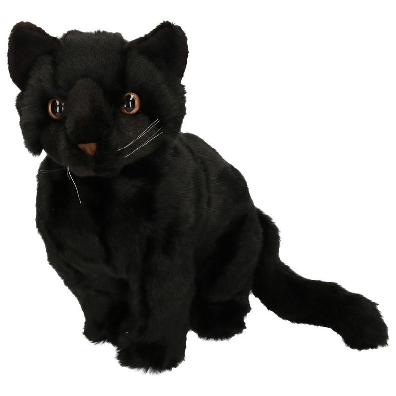 Pluche Zittende Knuffel Kat Zwart 30 Cm