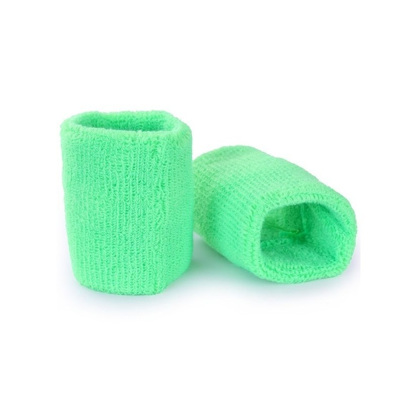 Pols zweetbandjes neon groen voor volwassenen 2 stuks
