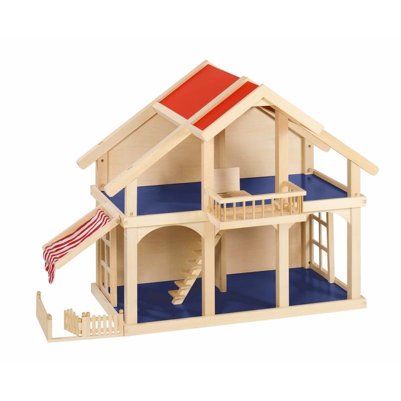Poppenhuis met balkon en veranda