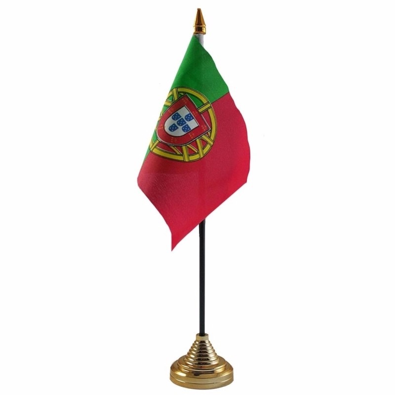 Portugal tafelvlaggetje 10 x 15 cm met standaard