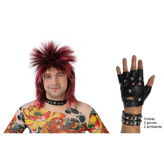 Punk verkleed set lederlook 5-delig