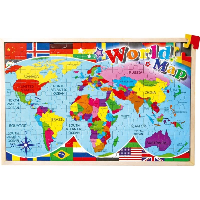 Puzzel wereldkaart 30 x 45 cm