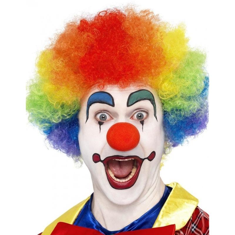 Regenboog clown pruik voor volwassenen