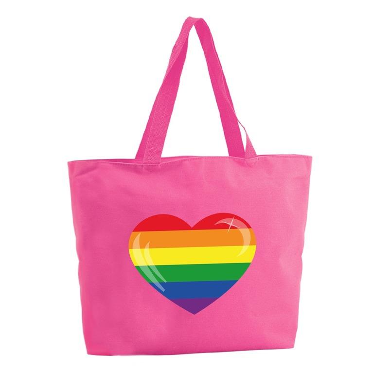 Regenboog hart shopper tas fuchsia roze 47 cm