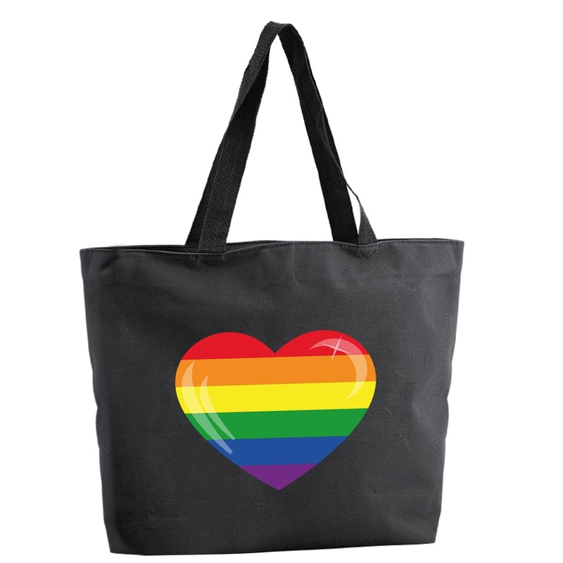 Regenboog hart shopper tas zwart 47 cm