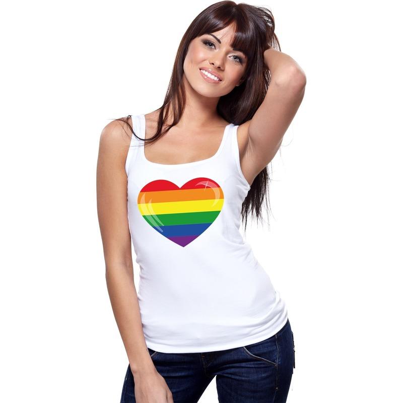 Regenboog vlag in hart singlet shirt/ tanktop wit dames