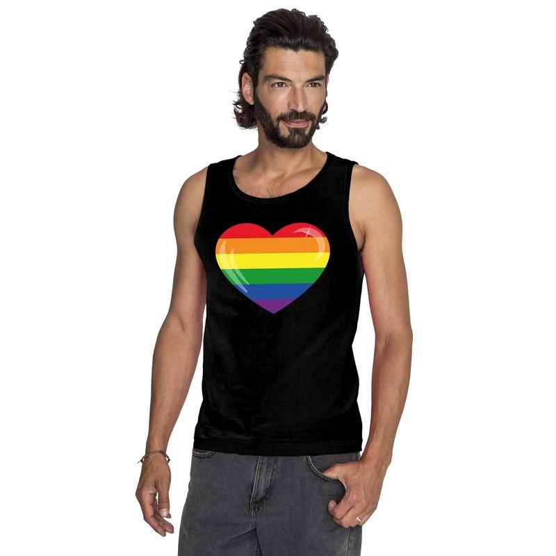 Regenboog vlag in hart singlet shirt/ tanktop zwart heren