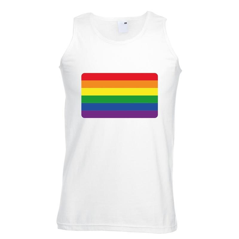 Regenboog vlag singlet shirt/ tanktop wit heren
