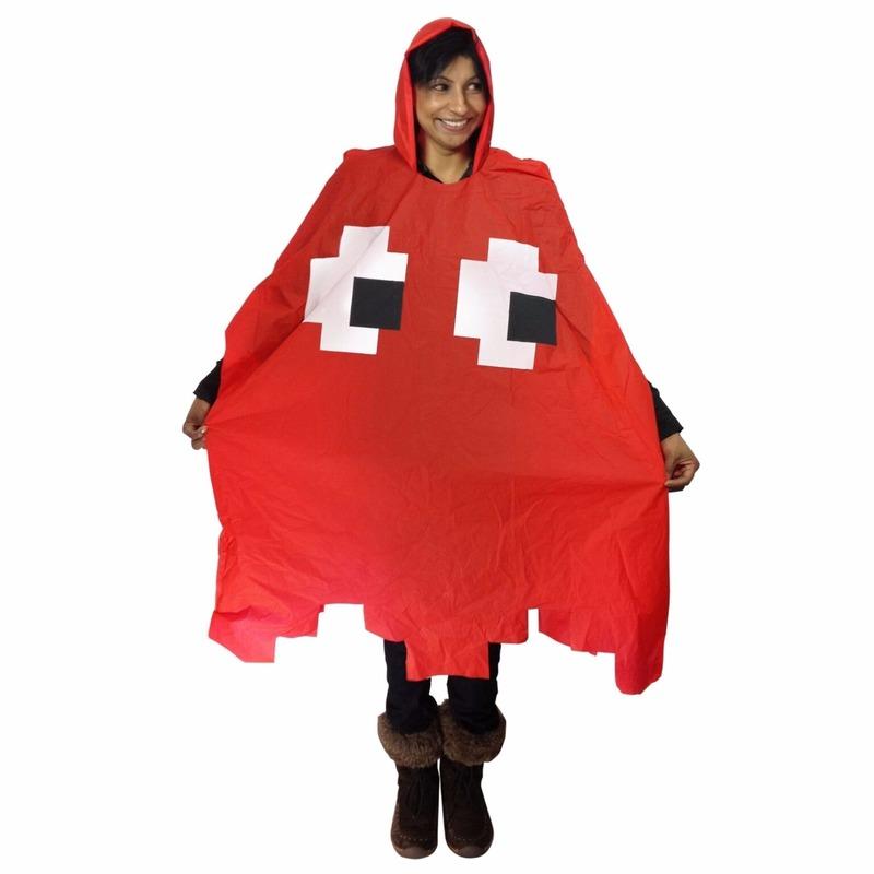 Regenponcho pacman spookje rood
