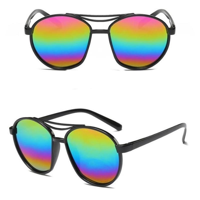 Retro zonnebril zwart met olie/spiegel glazen voor volwassenen