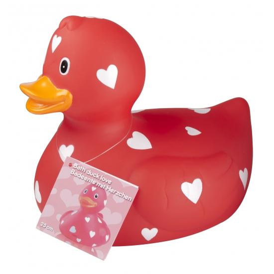 Rode badeend met hartjes 25 cm
