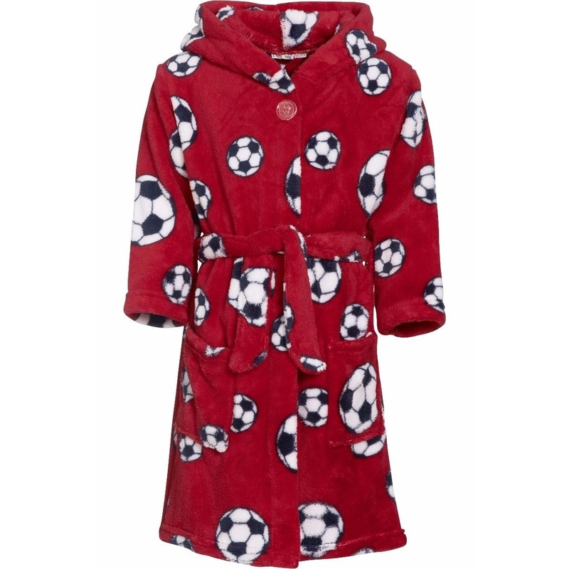 Rode badjas/ochtendjas met voetbal print voor kinderen.