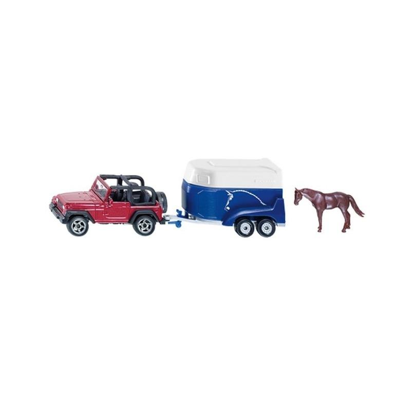 Rode jeep met paardentrailer
