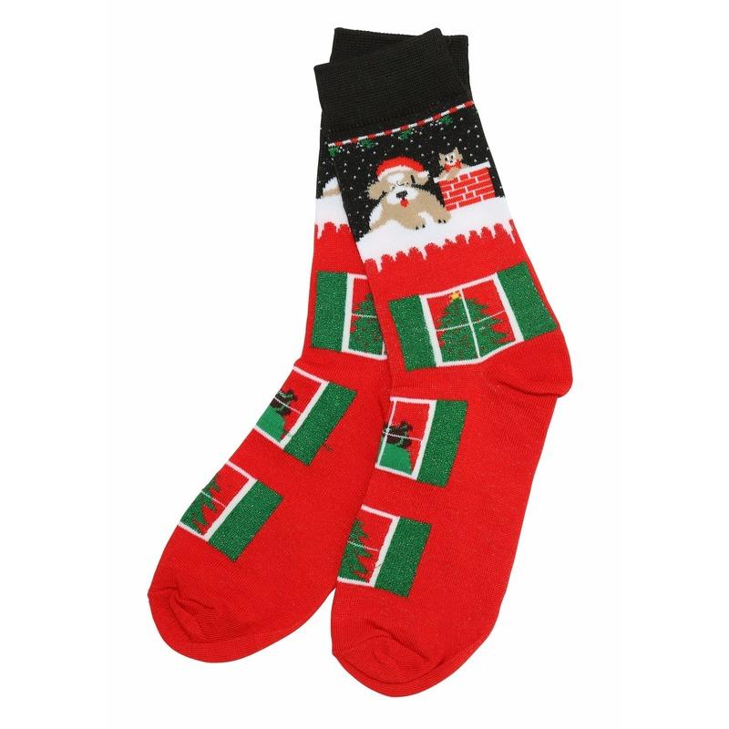 Rode kerstsokken met schoorsteen print voor volwassenen