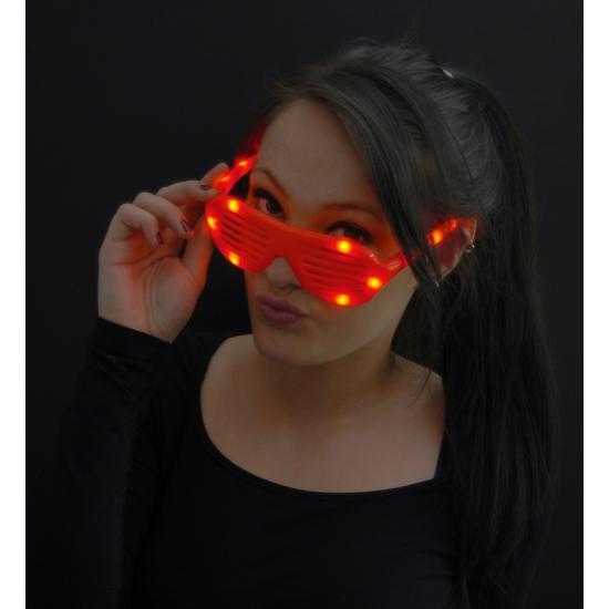 Rode lamellen bril met LED licht