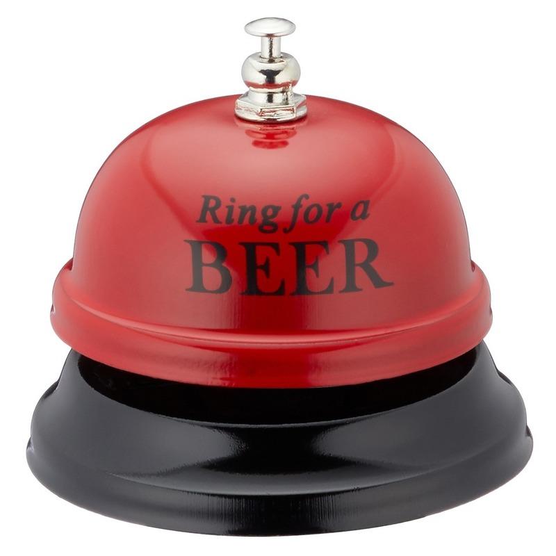 Rode tafelbel Ring for a beer 7,5 cm