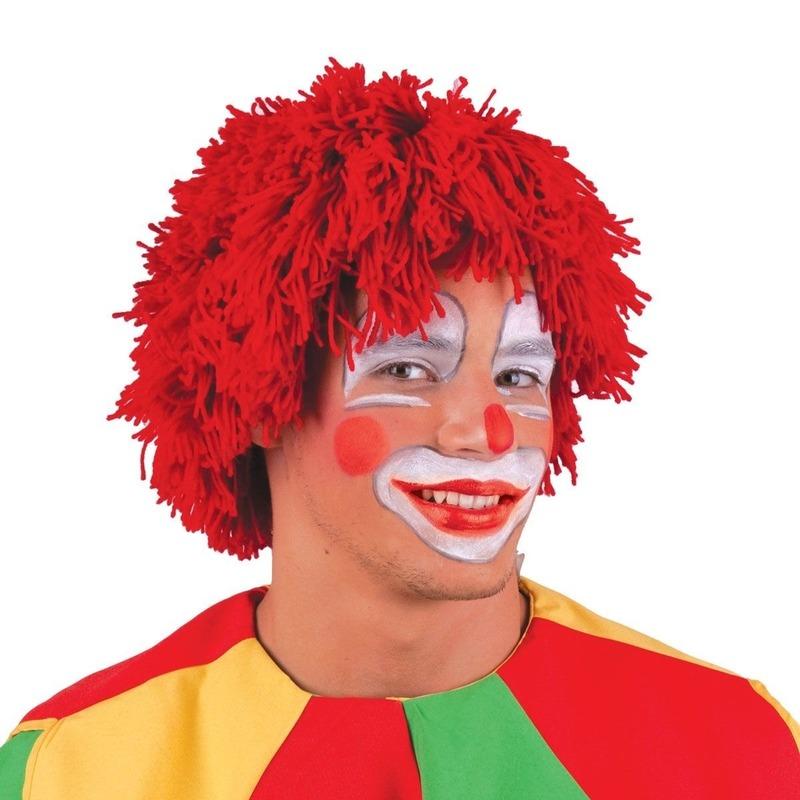 Rode wollen clowns pruik